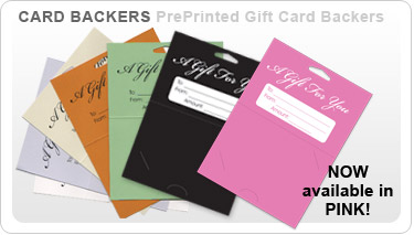 pre printed gift card backers and card holder store