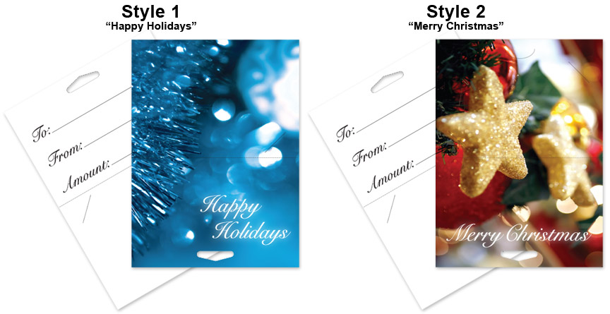 Holiday Themed Plastic Gift Card Holders Full Color Pre Printed